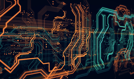 Orange, green, background with  digital  integrated  network technology, 3D illustration