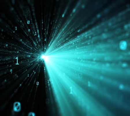 3D illustration. Computer binary code dark color blur bokeh, backdrop, background numbers depth of field