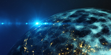Earth from space at night with a digital communication system.  3D Render