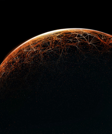 Connection lines Around Earth Globe, Futuristic Technology  Theme Background with Light Effect. 3D illustration