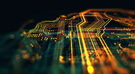 Orange, green technology background circuit board and code. 3d Illustration Standard-Bild