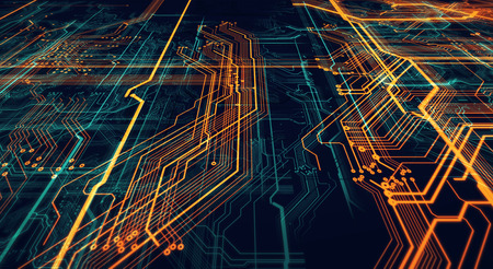 3d Illustration. Circuit board futuristic server code processing. Orange,  green, blue technology background with bokeh Stock Photo