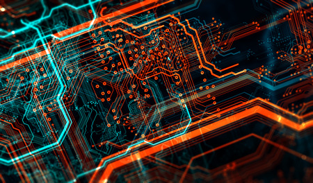 Circuit board and flares. Depth of field effect and bokeh. 3d illustration
