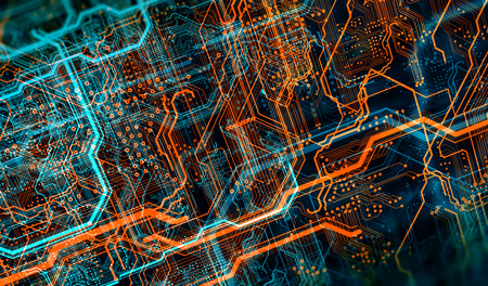 Circuit board and flares. Depth of field effect and bokeh. 3d illustration Фото со стока - 110746035