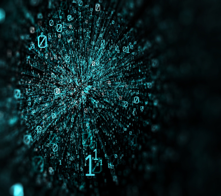 3D illustration.  Blue bytes of binary code flying through a vortex, background code depth of field