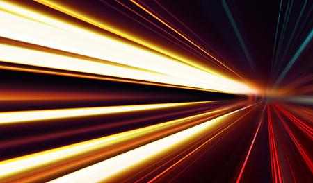 Abstraktes Bild der Geschwindigkeitsbewegung auf der Straße bei Dunkelheit Standard-Bild