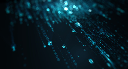 3D illustration. Computer binary code dark blue blur bokeh, backdrop, background numbers depth of field