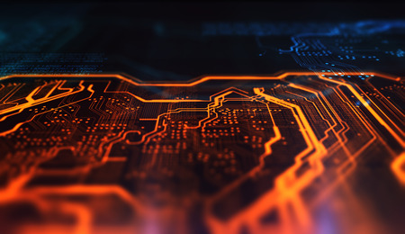 Orange and blue technology background circuit board and code. 3d Illustration