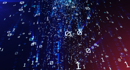 Colored bytes of binary code flying through a vortex, background code depth of field. 3D illustration Stock Photo