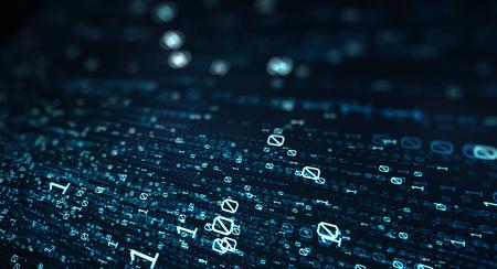 3D illustration.  Blue bytes of binary code flying through a vortex, background code depth of field
