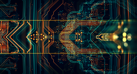 3d Illustration. Circuit board futuristic server code processing. Orange,  green, blue technology background with bokeh Imagens