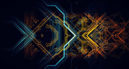 Abstract technological background made of different element printed circuit board. Depth of field effect and bokeh can be used as digital dynamic wallpaper. 3d Rendering 写真素材
