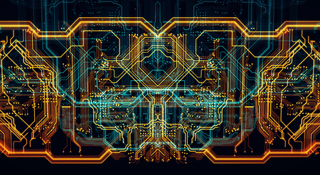 Circuit board futuristic server code processing. Orange,  green, blue technology background with bokeh. 3d Illustration