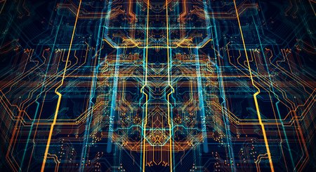 3d Illustration. Circuit board futuristic server code processing. Orange,  green, blue technology background with bokeh Banco de Imagens