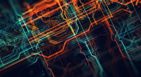 Circuit board and flares. Depth of field effect. 3d render