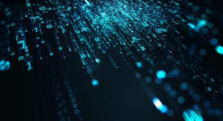 3D illustration. Computer binary code dark blue blur bokeh, backdrop, background numbers depth of field