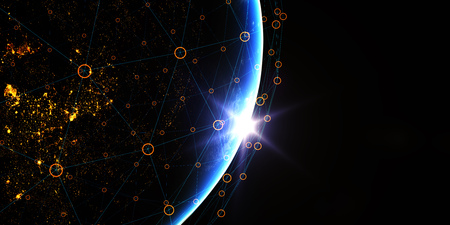 3D Render. Earth from space at night with digital communication system. 写真素材