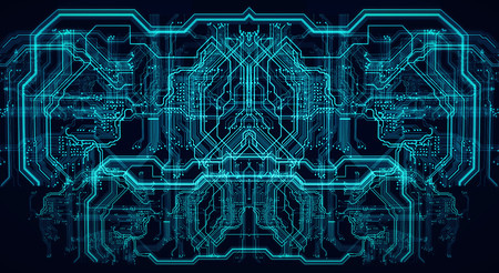Circuit board futuristic server code processing. Green, blue technology background with bokeh. 3d illustration Banque d'images - 125595041