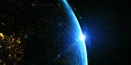 Earth from space at night with digital communication system.  3D Rendering