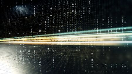 Abstract illustration the bytes of the binary code, circles, lines, displacement forming a background pattern big data. Background with depth of field and bokeh. 3d rendering Stock Photo
