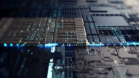 Abstraction illustration binary code strings are processed by the computers motherboard. Background from lines of binary code. Binary code data columns. Background with depth of field and bokeh. 3d r