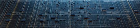 Circuit board futuristic server code processing. Orange,  green, blue technology background with bokeh. 3d rendering