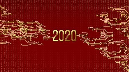 Abstract image of a new year symbol with binary code. Number 2020 with abstraction binary code. Golden binary code symbols on a colored background. 3d rendering