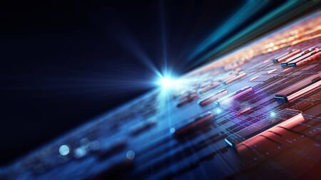 Abstractie illustratie binaire code strings worden verwerkt door het moederbord van de computer. Achtergrond van uitbarstingen van binaire code. Achtergrond met scherptediepte en bokeh. 3D-rendering