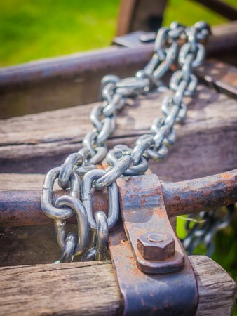 shackled: Heavy metal chains on old wooden piles
