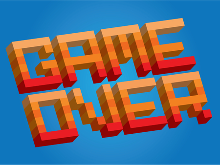 unsuccess: Retro arcade style game over logo, dead player, final encounter