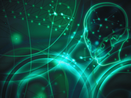 dendrites: Thoughts - Brain and neurons abstract background Stock Photo