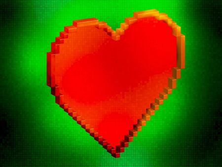 lighted: Arcade retro style red and yellow big pixel art style heart lighted green backround Stock Photo