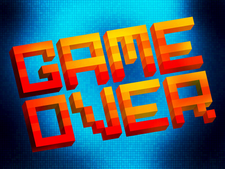 unsuccess: Arcade retro style game over logo, dead player, final encounter Stock Photo