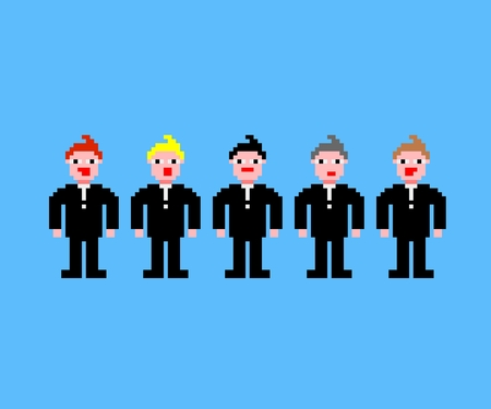 bridegroom: Pixel art with five bridegroom in black suit and different colours of hair