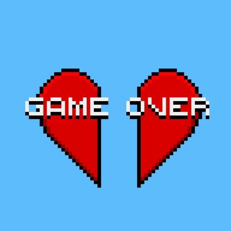 Arte gráfico del pixel con el corazón rojo - fin del amor Ilustración de vector