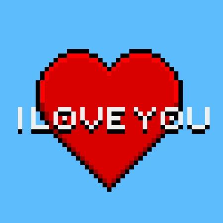 Pixel Art Carte De Voeux Avec Le Coeur Et La Banniere Je T Aime Clip Art Libres De Droits Vecteurs Et Illustration Image 42947589