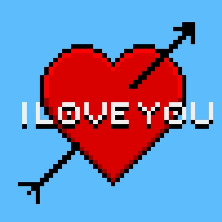 pierced: Pixel art greeting card with heart pierced by an arrow and banner I love you Illustration