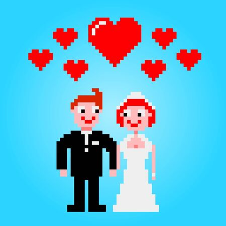 married couple: Married couple with hearts clipart pixel art Illustration