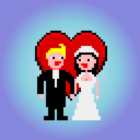 heart clipart: Married couple with heart clipart Illustration