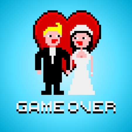 married: Pixel art with married couple, heart and game over text banner