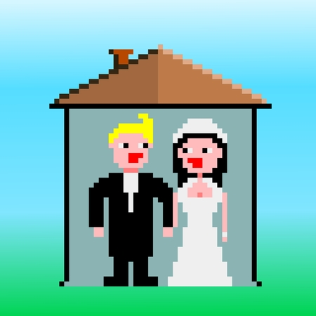 home clipart: Married couple standing at their new home clipart