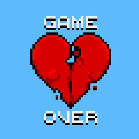 color separation: Game over, love is dead, broken heart, a dead player retro pixel art style