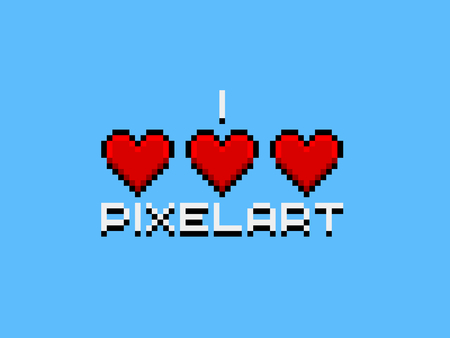 pixelart: I love pixelart, pixel art logo Stock Photo
