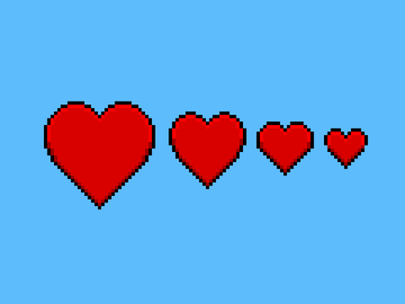 pixelart: Four hearts of love from big to small, pixel art style icon