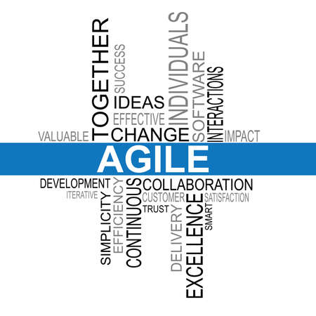 agile: Agile software development word cloud typography vector illustration Illustration