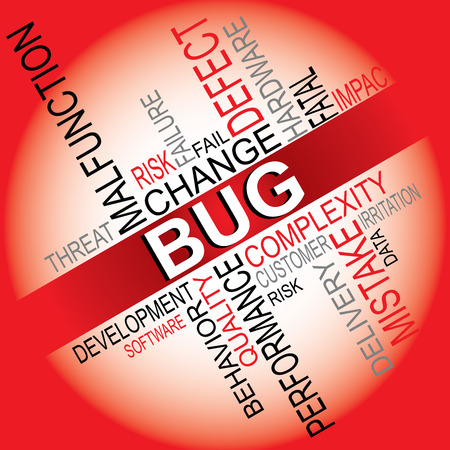 software development: Bug, defect, failure, error, software development typography vector illustration