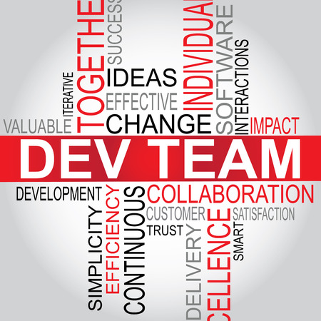 software development: DEV Team - Software Development typography vector illustration Illustration
