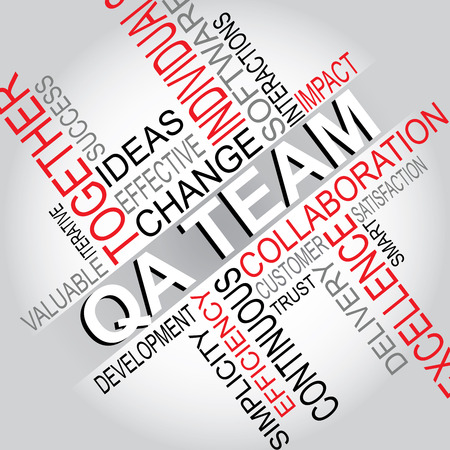 QA Team - Software Development typography vector illustration