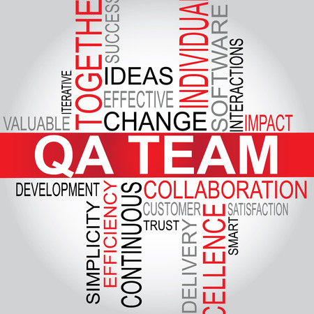 software development: QA Team - Software Development typography vector illustration