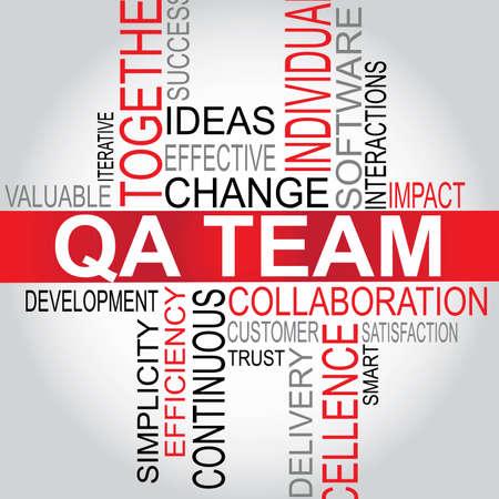 control de calidad: QA Team - Software tipografía Desarrollo ilustración vectorial Vectores